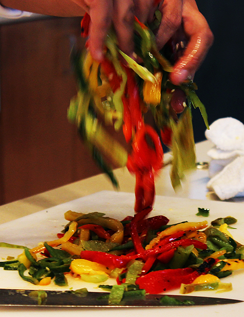 Chopping Peppers Santa Fe School of Cooking