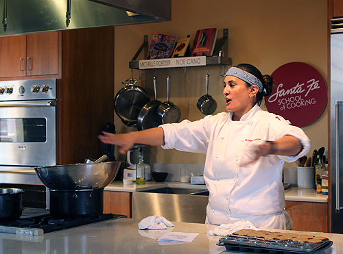 Michelle Lecturing I Santa Fe School of Cooking