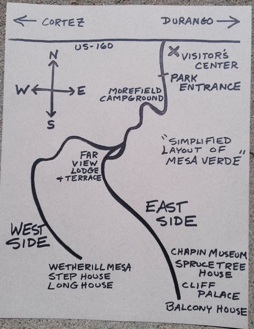 Simplified Map of Mesa Verde National Park