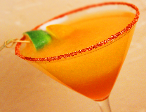 red martini decorated strawberry chile martini red chile martini chili ...