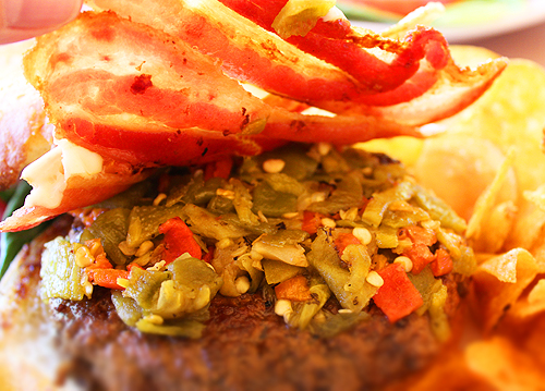 Green Chiles on Burger