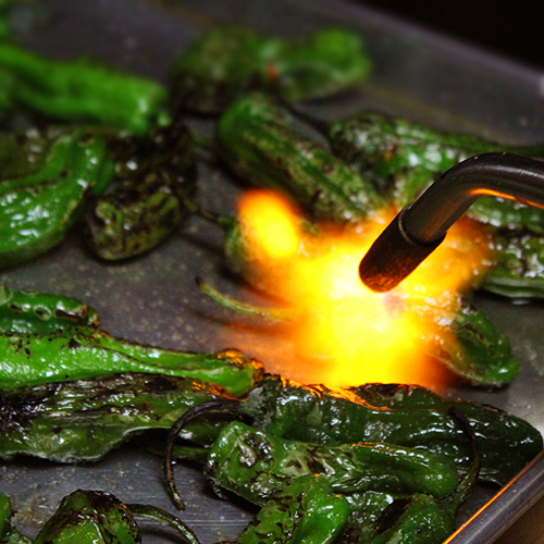 Chiles Flamed on Pan